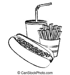 monochrome sketch of hot dog with french fries and soda
