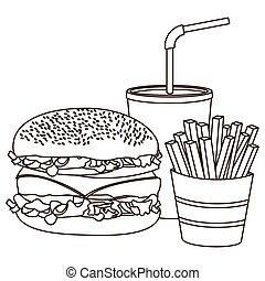 monochrome contour of burger with french fries and soda