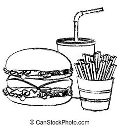 monochrome sketch of burger with french fries and soda