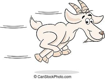 running cartoon goat - vector illustration of a running...