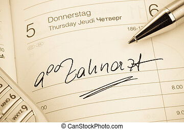 entry to the calendar: dentist - an appointment is entered...