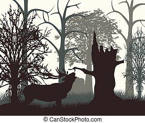 Deer in wood in the morning