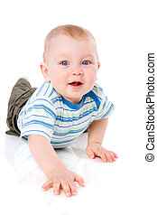 Baby boy - One year boy lying on floor isolated on white