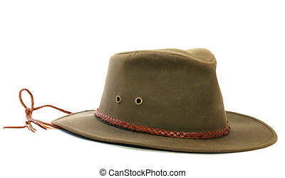 Brown felt hat - A brown felt hat with leather band and...