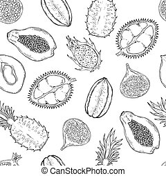 Pattern of exotic fruits. On a white background. Seamless.