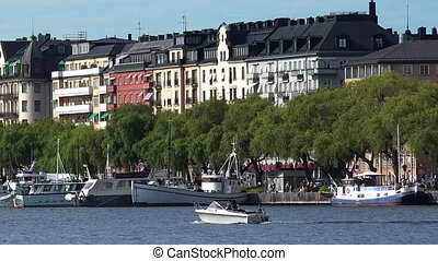 Embankment and pier in the center of Stockholm. Sweden.