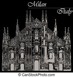 Milan Cathedral in Italy on black background - Famous Milan...