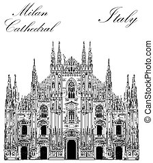 Milan Cathedral in Italy - Famous Milan Cathedral in black...