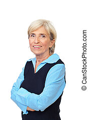 Smiling senior with arms folded - Smiling senior business...