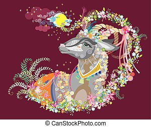 Background with decorative goat - Decorative goat under the...