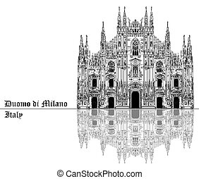 Milan Cathedral in Italy with shadow - Famous Milan...