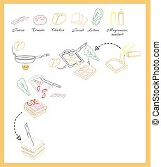 Sandwich recipe vector Illustration - Sandwich recipe with...