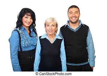 Cheerful business team - Cheerful teamwork in blue formal...