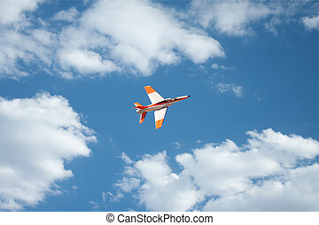 Real Jet plane, remote RC against blue sky