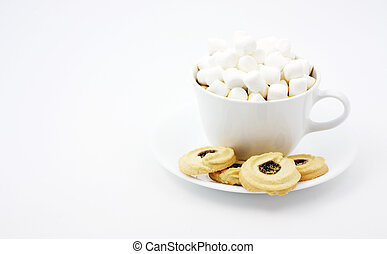 Chocolate with marshmallows and cookies