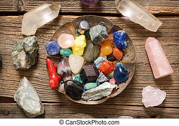 Multiple semi precious gemstones on board - Multiple semi...