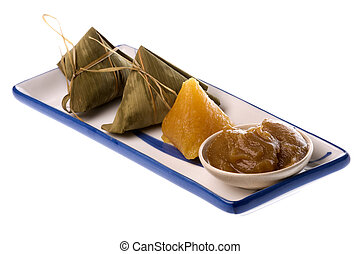 Dumplings in Bamboo Leaf Isolated