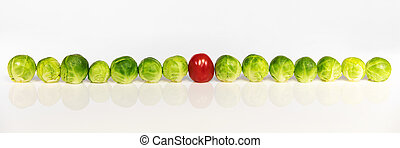 brussel sprouts and tomato - panorama of brussel sprouts and...