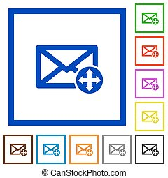 Move mail flat framed icons - Move mail flat color icons in...