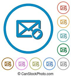 Tagging mail icons with shadows and outlines - Tagging mail...