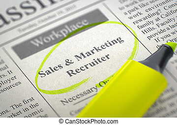 Sales and Marketing Recruiter Job Vacancy. 3D.