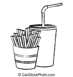 monochrome sketch of soda with straw and french fries