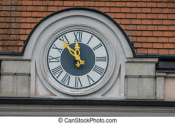 clock on the facade, symbolizing an empty treasury in...