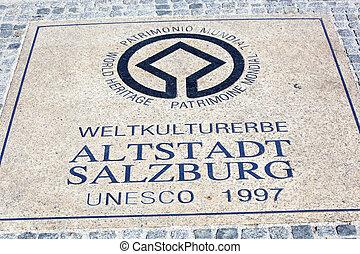 engraving, salzburg, world heritage