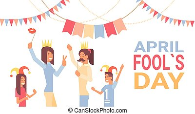 People Group Celebrating Fool Day April Holiday Greeting...