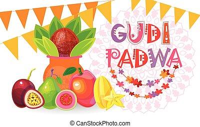Happy Ugadi and Gudi Padwa Hindu New Year Greeting Card...