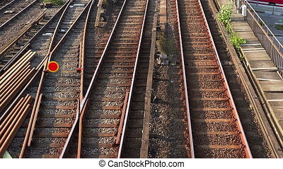 Railroad tracks, rails in Stockholm. Sweden. - Railroad...