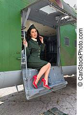 WW2 airplane and sexy model - Sexy pin-up model in WW2...