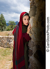 Mary Magdalene crying at the empty tomb - Mary Magdalene...