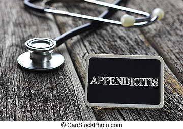 Medical Concept-APPENDICITIS word written on blackboard with...