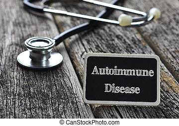 autoimmune, concept-, médico, enfermedad, escrito, madera,...