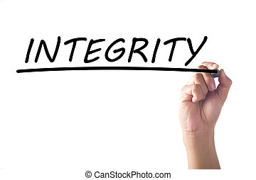 Hand writing INTEGRITY word on transparent board