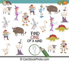 find one of a kind - Cartoon Illustration of Educational...