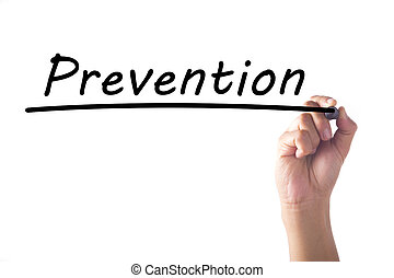 Hand writing Prevention word on transparent board