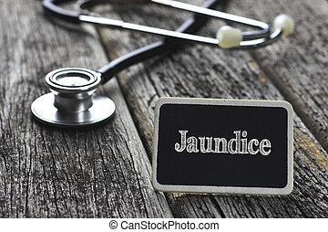 palavra, concept-, médico, escrito, madeira, Estetoscópio,...