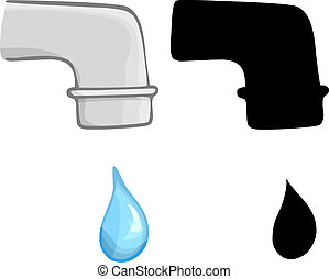 Water Dripping - Water dripping from a faucet in color and...