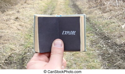 explore concept, travel motivation - Explore text. Travel...