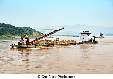 Dredging ship in the Yangtze River - Large dredger in the...