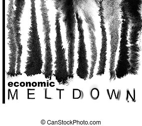 Melted down bar-code - Economic meltdown. Melted down...