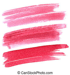 Set of red brush strokes isolated on the white background....