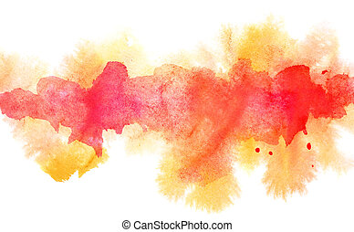 Orange diffluent watercolor line. Abstract textured...