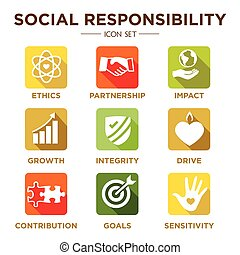 Social Responsibility Solid Icon Set with Impact, Ethics,...