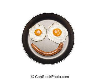 Saucepan with eggs and sausage