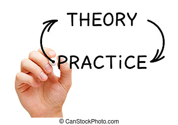 Theory Practice Arrows Concept - Hand drawing Theory...