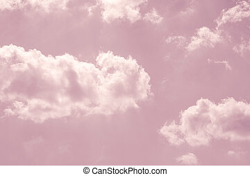 pastel pink sky with white fluffy clouds - fantasy pastel...
