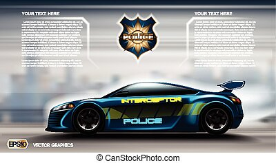 Realistic Police car futuristic concept Infographic. Urban city background. Online Cab Mobile App, Cab Booking, Map Navigation e-commerce business concept. Digital Vector